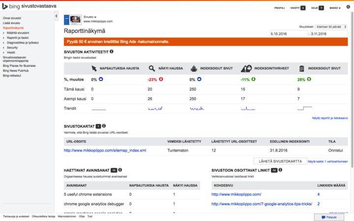 Bing sivustovastaavan työkalut